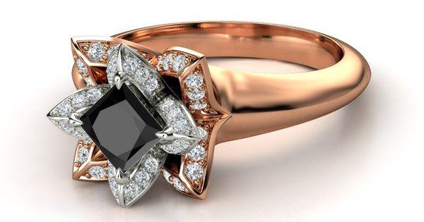 princess cut black onyx gold lotus ring