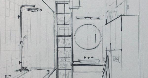 Sketch Of The Bathroom Interior Sketches And Drawings Pinterest Sketches Architecture And