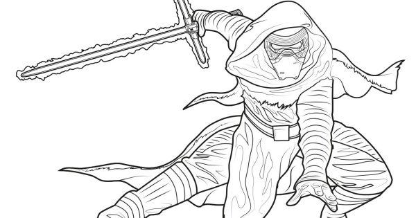 Star wars the force awakens kylo ren coloring page star for Kylo ren coloring page
