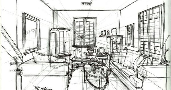 Pin by veronica sandrone on croquis pinterest croquis for Living room 1 point perspective