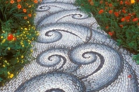 Mosaic Garden Path ~ Stone walkway in the garden leading to a