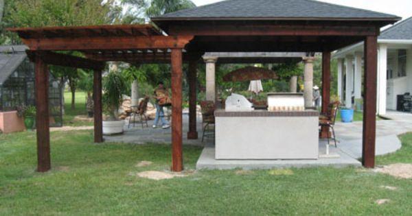 back patio roof ideas wood patio cover pergola combination with kitchen 144 - Pergola Patio Cover Ideas