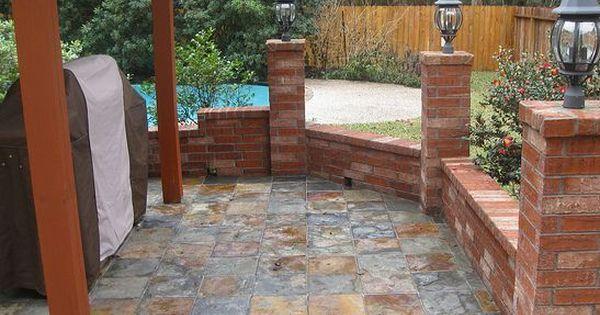 Slate Tile Patios Slate Tile Patios Design Ideas And Photos Patio Tiles Slate Patio Patio Flooring