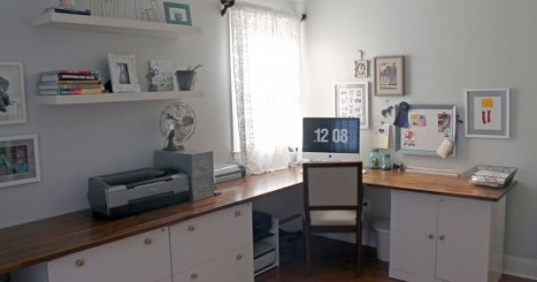 Office Countertop Options : Our new office design. Desk was created with old (repainted) file ...