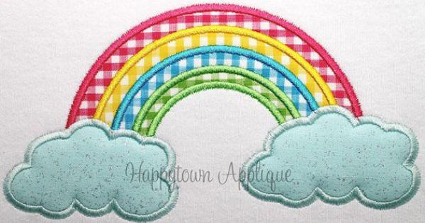 Rainbow machine embroidery design