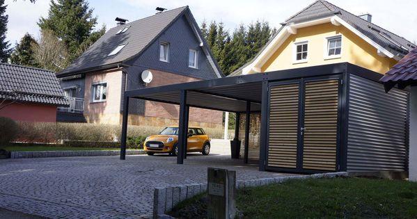 design metall carport aus stahl holz mit abstellraum wien. Black Bedroom Furniture Sets. Home Design Ideas