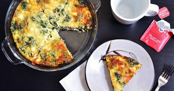 Spinach, mushroom and feta crustless quiche. Recipe Link: budgetbytes.blogspot.com Click here for