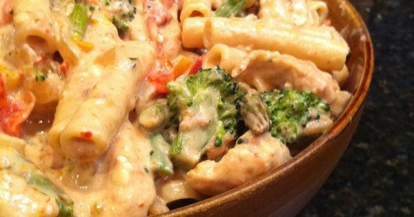 Confetti Chicken Pasta with Veggies Recipe - penne pasta, olive oil, chicken,