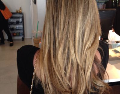 honey blonde highlights for light brown hair + long layers