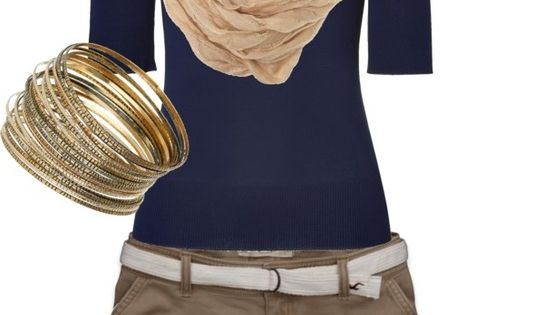 #Love the wedges and the oatmeal snood with the navy top:) Khaki capris for me or longer shorts:) Casual Outfit 2dayslook CasualOutfit nice fashion www.2dayslook.com