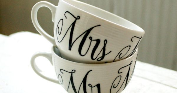 Mr. and Mrs. tea cups-personalized!