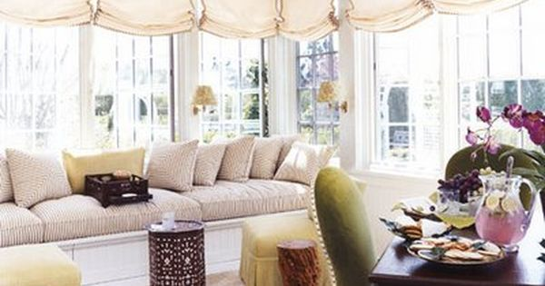 Rustic Living Room By Markham Roberts Inc By: Markham Roberts Sunroom. Love The Window Treatments