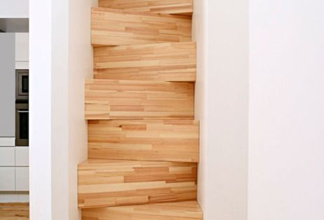 Interior Design, Fascinating Stairs For Small Spaces With Wooden Modern Design: Exciting