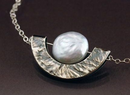 Handmade jewelry white pearl and sterling silver geometric for Custom made jewelry stores
