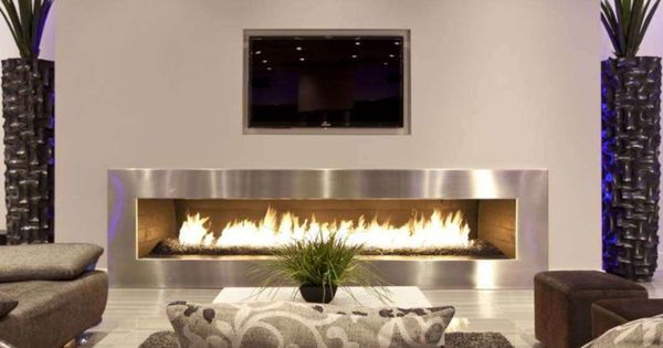 Long Contemporary Electric Fireplace Contemporary