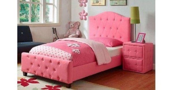 Girls Twin Bed Princess Diva Tufted Pink Headboard Frame