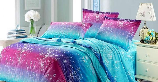 forest scene full size bright color bedding sets girl bedroom ideas