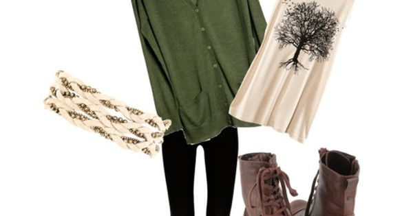 School Outfit. Green cardigan, tank top, combat boots, head wrap. boho