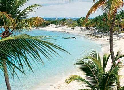 The white sandy beaches in La Romana, Dominican Republic