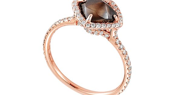 Auburn rough diamond set in 18k pink gold. So unique and memorable!