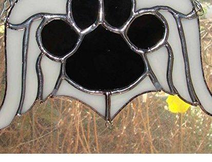 Black Dog Paw Print Memorial Angel Wings Handmade Sun ...