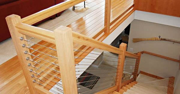Stair Railings With Wood And Cable Google Search Railings Pinterest Railings Woods And