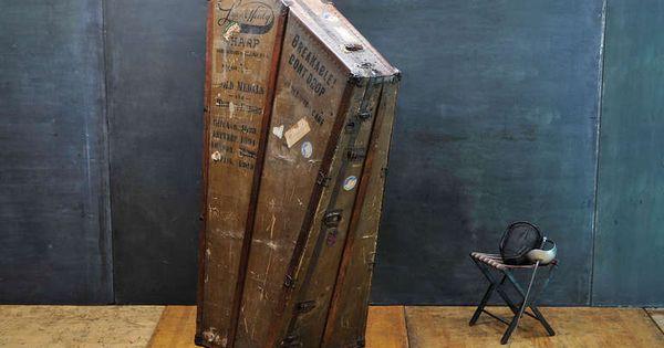 Monumental victorian lyon harp steamer trunk case steamer trunk harp and steamers - Vintage lyon lounge ...