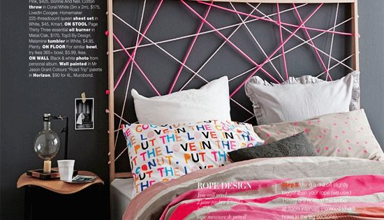 cool rope headboard idea.