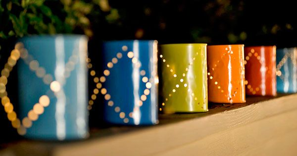 Painted Cans~ paint empty soup cans bright summer colors, poke holes, and