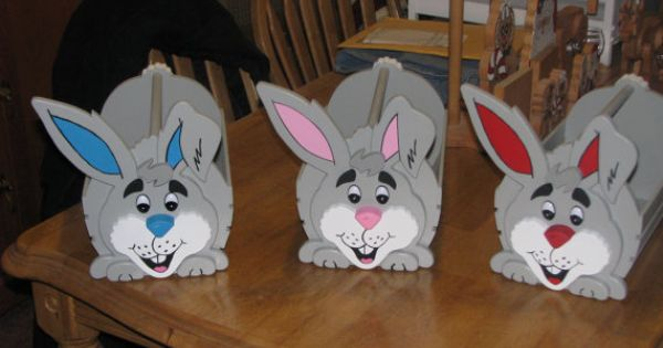 Hand Painted Wooden Easter Bunny Basket 3 By