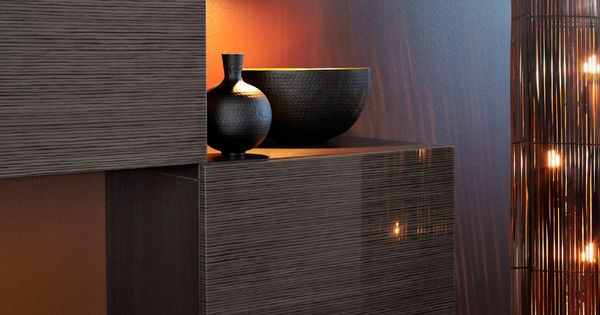 Best Wall Cabinets In Black Brown High Gloss With Bamboo