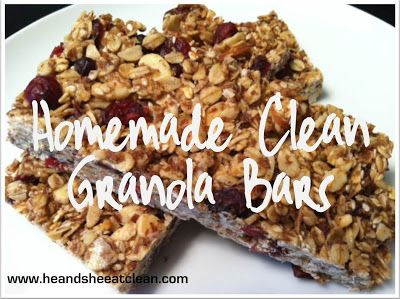 Homemade granola bar recipe! Homemade Clean Granola Bars Adapted slightly from TurtleWoman