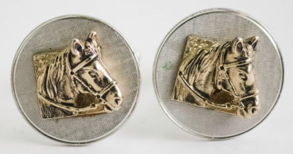 Vintage Cufflinks Horse Head Cuff Links Gold / by CuffsandClips