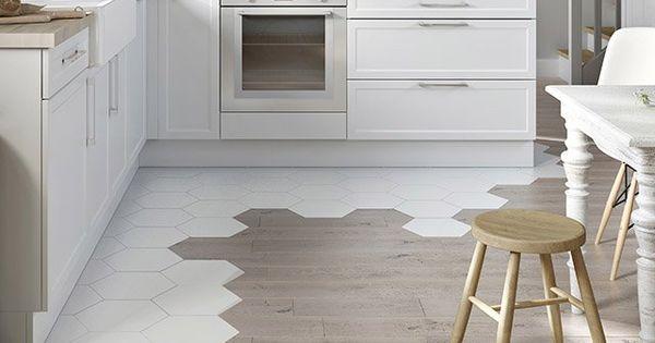 Chevron Wood Floor Transitioning Into Kitchen