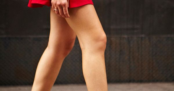 Patent kitten heels | red skirt