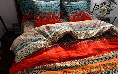 Zacard Boho Style Duvet Cover Sets Colorful Stripe Sheet