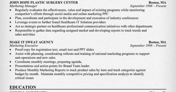 Healthcare Marketing Resume Sample Http Resumecompanion