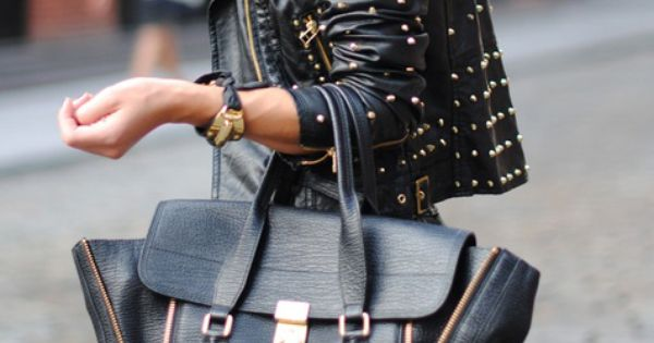 3.1 Phillip Lim | studded leather jacket | black leather bag