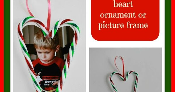 DIY candy cane picture frame ornament.