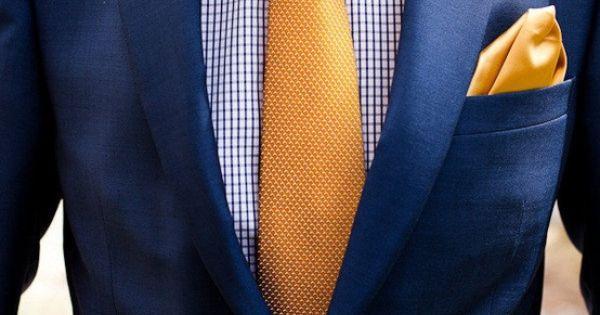 Navy Suit With Gold Tie Men S Fashion Pinterest Tie