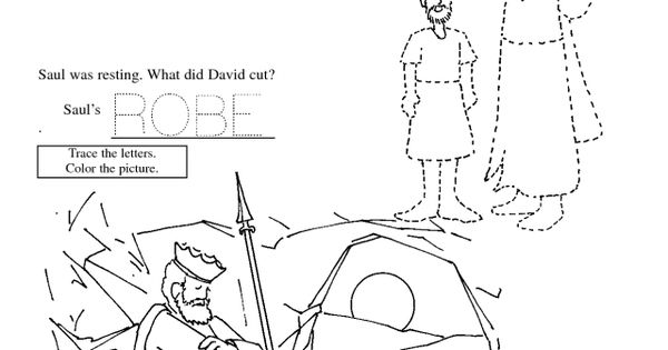 David Saul Cave Colouring Pages Sunday school