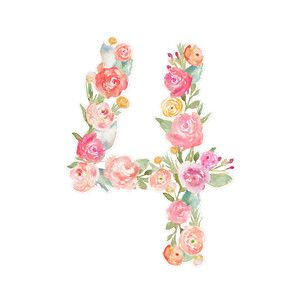Floral Watercolor Number 4 Flower Typography Floral Watercolor