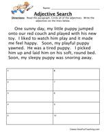 Adjective Worksheet Read The Paragraph Circle All The Adjectives