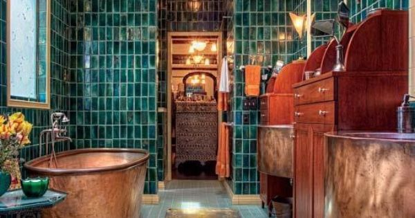 Copper Bathroom And Green Tile Decor