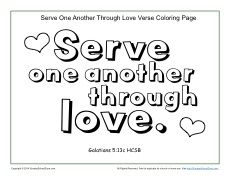 Serve One Another Printable Coloring Page Bible Activities For