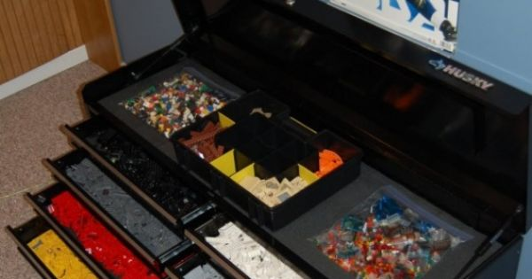 Lego Storage ~ use a tool box! Husband toy room.. he would