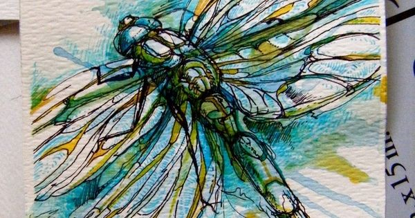 dragonfly watercolor - I want this huge on my stairwell from 1st