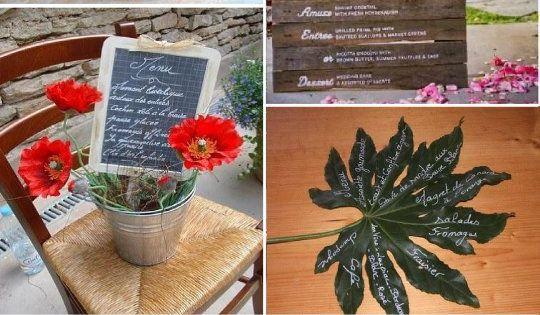 Idees menu mariage rondin bois vegetal feuille galet ardoise id es d co salle pinterest - Feuille d ardoise ...