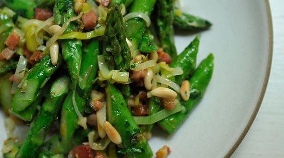 Absurdly Addictive Asparagus recipe on Food52.com- with pancetta, leek, lemon & orange