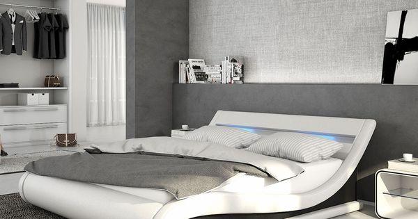 polsterbett belana 140x200 cm weiss schwarz mit led delife deluxe beds pinterest. Black Bedroom Furniture Sets. Home Design Ideas